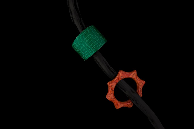 Ensemble de bracelets, gaine croco, lamellé collé teinté