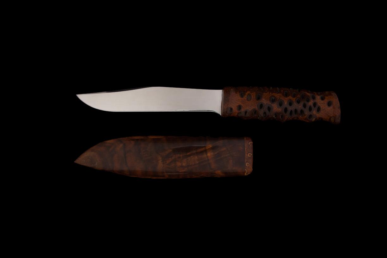 Couteau de chasse, noix de Banksia, étui en Noyer d'Amerique