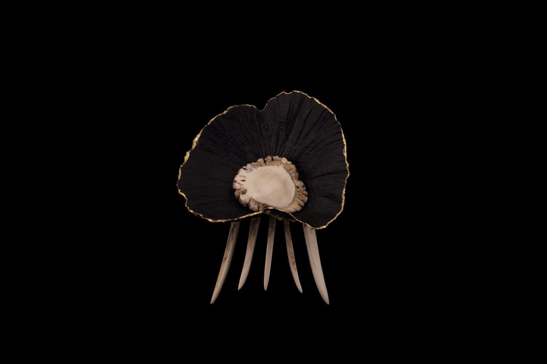 Peigne à cheveux, bois de cerf, lamelle de racine de bruyère