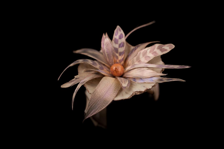 Bracelet Fleur violet, plume et ecorse